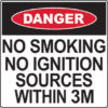 Danger no smoking sign for flammable cabinets