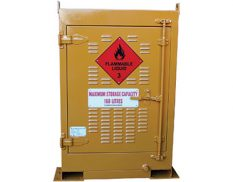Outdoor dangerous goods stores for drums and small containers