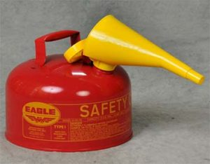Galvanised steel type 1 safety can with funnel - 9.5L - Global Spill Control
