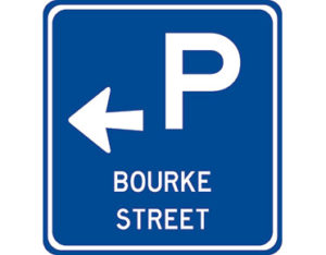 Street name parking sign - class 1 retroreflective Australian standard aluminium or metal parking sign