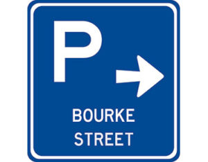 Arrow parking sign - class 1 retroreflective Australian standard aluminium or metal parking sign