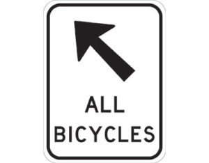 All bicycles road sign - class 1 retroreflective Australian standard aluminium or metal guide sign. Features white curved-edge rectangle background