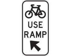 Bicycle use ramp sign - class 1 retroreflective Australian standard aluminium or metal guide sign. Features white curved-edge rectangle background