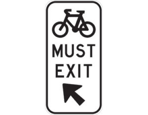 Bicycles must exit - class 1 retroreflective Australian standard aluminium or metal guide sign. Features white curved-edge rectangle background