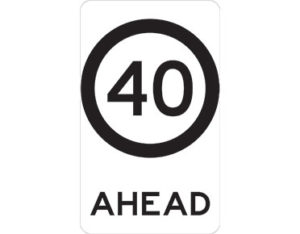 40km speed sign - class 1 retroreflective Australian standard aluminium or metal guide sign. Features white curved-edge rectangle background