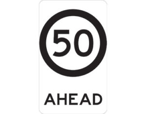 50km speed sign - class 1 retroreflective Australian standard aluminium or metal guide sign. Features white curved-edge rectangle background