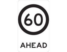 60km speed sign - class 1 retroreflective Australian standard aluminium or metal guide sign. Features white curved-edge rectangle background