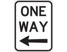 One way left sign - black ONE WAY text with black arrow