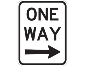 One way right sign - black ONE WAY text with black arrow
