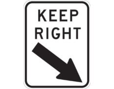 Road keep right sign - KEEP RIGHT text with black arrow