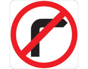 No right turn sign - black right turn symbol with red annulus and slash symbol