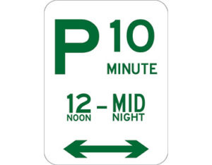 Minute parking sign - class 1 retroreflective Australian standard aluminium or metal parking sign