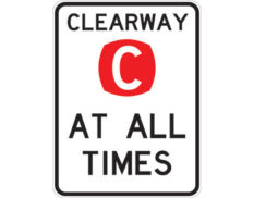 Clearway road sign - class 1 retroreflective Australian standard aluminium or metal parking sign