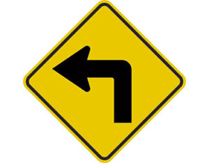 Turning left warning sign - class 1 retroflective road sign made to Australian standard features yellow diamond shape with black arrow