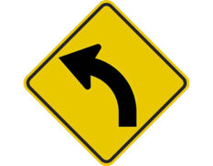 Curve left sign - class 1 retroflective road sign made to Australian standard features yellow diamond shape with black arrow