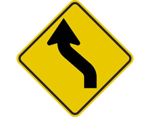 Reverse curve left sign - class 1 retroflective road sign made to Australian standard features yellow diamond shape with black arrow