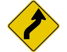 Reverse curve right sign - class 1 retroflective road sign made to Australian standard features yellow diamond shape with black arrow