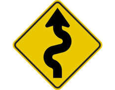 Left winding road sign -class 1 retroflective road sign made to Australian standard features yellow diamond shape with black zig zag arrow