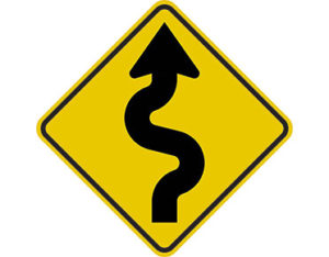 Right winding road sign -class 1 retroflective road sign made to Australian standard features yellow diamond shape with black zig zag arrow