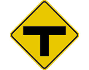 T-intersection sign - class 1 retroreflective aluminium or metal Australian standards t-shaped symbol Diamond-shaped yellow