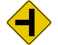Side intersection sign - class 1 retroreflective aluminium or metal Australian standards side t-shaped symbol Diamond-shaped yellow