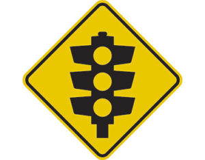 Warning road signs