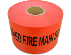 Danger fire main below - underground marker tape