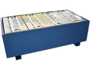 Powder coated galvanised spill pallet - 2 drum