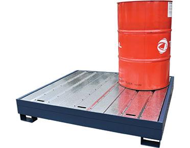Heavy duty powder coated galvanised drum bund - four drum