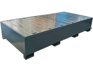 Double IBC bund - powder-coated steel spill pallet