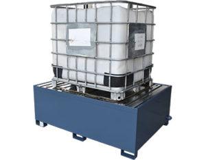 Single steel IBC bund - powder coated galvanised spill pallet