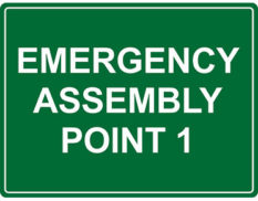 Emergency point sign for workplace safety by Global Spill Control