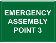 Emergency point 3 sign for workplace safety by Global Spill Control