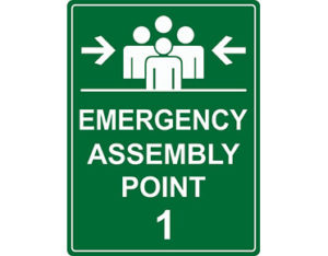 Emergency assembly point 1 sign from Global Spill Control