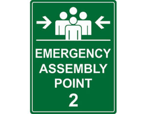 Assembly point sign for workplace safety from Global Spill Control