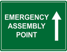 Emergency assembly sign. Australian made to AS1319-1994 and available in various sizes and materials.