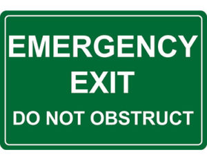 Emergency exit information sign by Global Spill Control