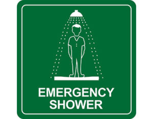 Emergency shower sign for workplace safety by Global Spill Control