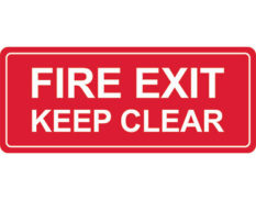 Fire exit keep clear sign Australian made by Global Spill Control