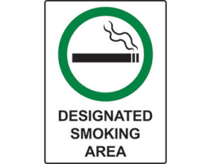 Designated smoking area sign - facilities signage from Global Spill Control