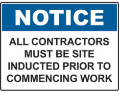 Notice site induction sign Australian made by Global Spill Control