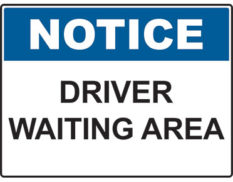 Driver waiting area sign Australian made by Global Spill Control