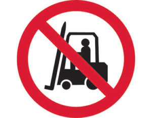 No forklifts prohibition sign is Australian made - Global Spill Control