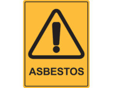 Asbestos warning sign features a yellow background with black text and warning pictogram. Australian made to AS1319-1994 in various sizes and materials.