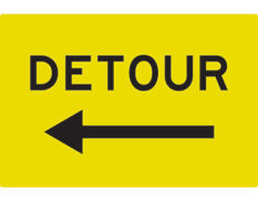 Detour left arrow swing stand - swing stand signs by Global Spill Control
