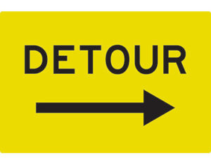 Detour right arrow swing stand - swing stand signs by Global Spill Control
