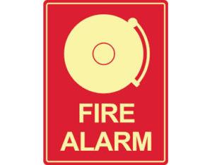 Luminous fire alarm bell sign by Australian standards - Global Spill Control