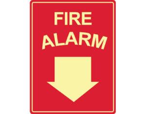 Luminous fire alarm sign by Australian standards - Global Spill Control