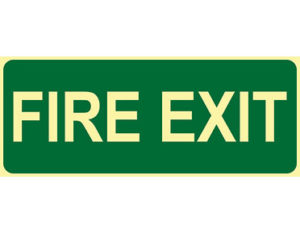 Luminous fire exit sign by Australian standards - Global Spill Control
