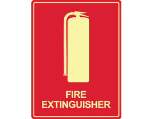 Luminous fire extinguisher sign by Australian standards